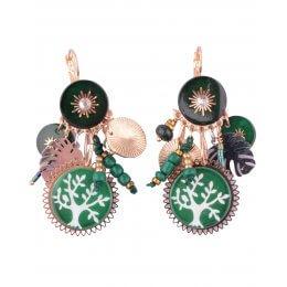 Boucles d'oreilles LOL vertes gongs arbre de vie et soleils