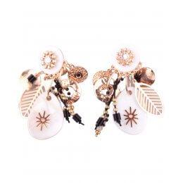 Boucles d'oreilles LOL à clips blanches et dorées Nacralis