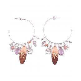 Boucles d'oreilles LOL Anneaux argent totems et perles roses