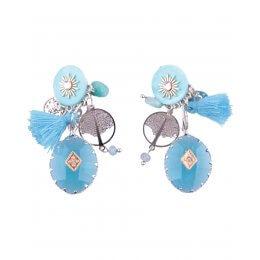 Boucles d'oreilles LOL à clips turquoises Perlivie