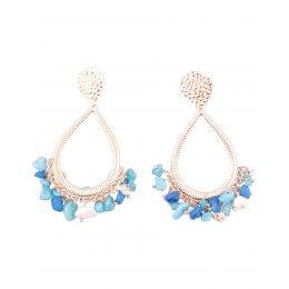 Boucles d'oreilles LOL anneaux Goutini dorés à perles bleues-Bleu