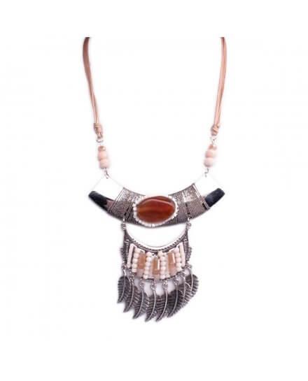 Collier Lolilota plastron arche argent perles camel blanches et plumes