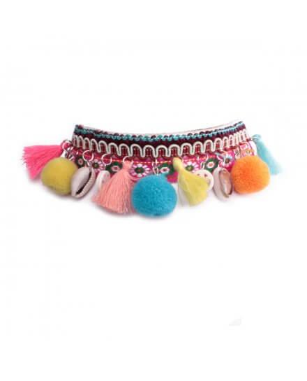 Collier Lolilota ras de cou tissu rose et pompons multicolores