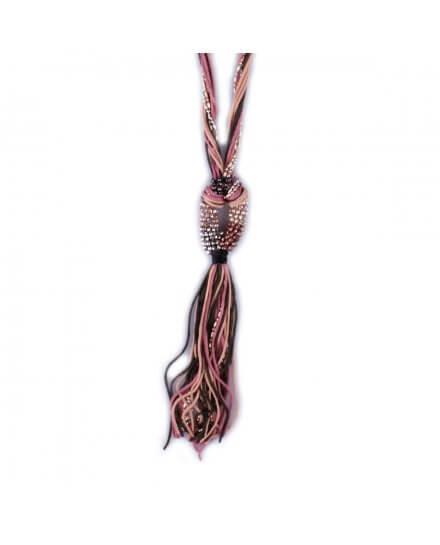 Sautoir Lolilota kaki et rose ovale de perles brillantes