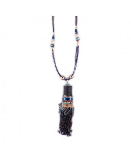 Sautoir LOL Tube perles et chaînettes bleu doré et noir