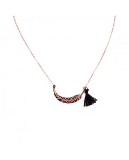 Collier MILE MILA acier cuivré plume et pompon noir