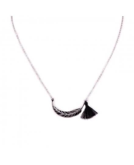 Collier MILE MILA acier argent plume et pompon noir