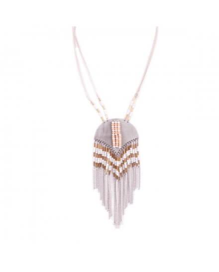 Collier LOL doré et blanc Arc de métal perlé et filaments