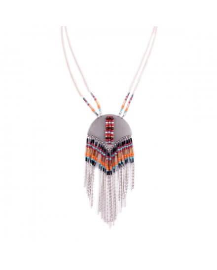 Collier LOL Arc de métal perlé et filaments