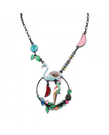 Collier LOL Flamant rose et perroquet sur couronne fleurie vert multicolore