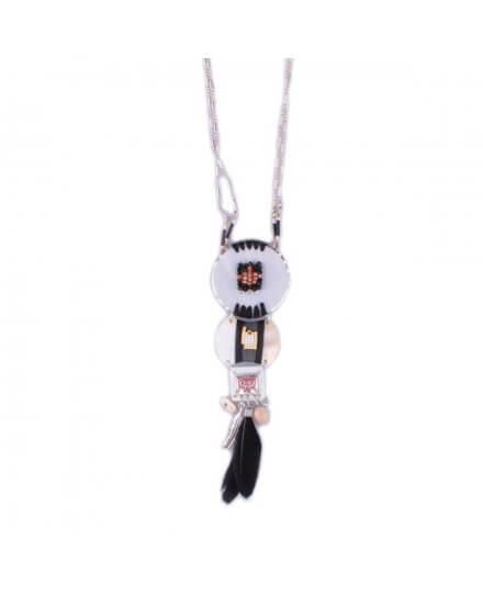 Sautoir LOL Totem de nacre à perles et plumes noires