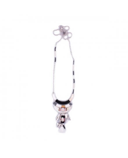Sautoir LOL Arcs de nacre tissés à perles et pompons