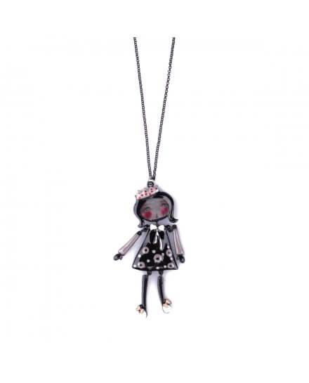 Sautoir Poupée LOL princesse robe noire pois gris et nœud blanc