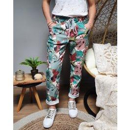 Pantalon fluide grosses fleurs -Vert