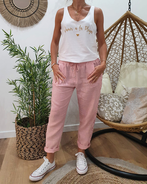 Pantalon femme rose pastel